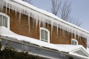 A home filled with ice in their roof - Precision Inspection, your Southern Tier home inspection company will inspect your roof to avoid ice damming.
